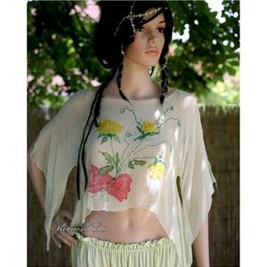 SÁRGA RÓZSA - chiffon-blúz, Esküvő, Táska, Divat & Szépség, Női ruha, Ruha, divat, Blúz, Varrás, Selyemfestés, Lehelet-könnyű hernyóselyem-chiffonra festettem ezt a szabadkézi mintát.\nAlkalmi ruhatárad látványos..., Meska