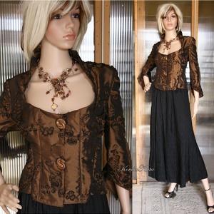 DIANA - örömanya taft-kabátka, Táska, Divat & Szépség, Női ruha, Ruha, divat, Kabát, Esküvő, Varrás, Különleges, csokoládé-színű szalag-rátétes taftból terveztem ezt a kedvelt fazonomat.\nAntik ékszer-g..., Meska