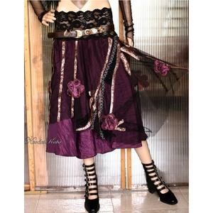 CSIPKERÓZSA szoknya, Női ruha, Ruha & Divat, Alkalmi ruha & Estélyi ruha, Varrás, Foltberakás, Romantikus Hölgyeknek :\n\nGyönyörű püspöklila taftselyem + applikált fantázia- dekorációs tüll-borítá..., Meska
