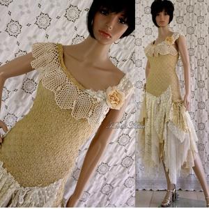 HEIDI - menyasszonyi ruha , Esküvő, Táska, Divat & Szépség, Menyasszonyi ruha, Esküvői ruha, Ruha, divat, Egy különleges, egyedi menyasszonyi ruhám  shabby chic stílusban:  Kézzel festett elasztikus csipke,..., Meska