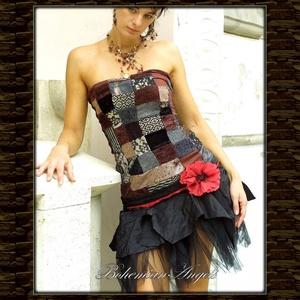 GABRIELLA - patchwork koktélruha, Alkalmi ruha & Estélyi ruha, Női ruha, Ruha & Divat, Patchwork, foltvarrás, Varrás, Különleges,bohókás, apró darabokból összeállított ruha-derék taftfodros-tüllös szoknyarésszel, dísz-..., Meska
