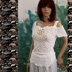 """SISSY - design csipketop, Top, Női ruha, Ruha & Divat, Varrás, Egy különleges darab a finom elegancia jegyében!\nRomantikus \""""nimfa\""""-felsőm most tört-fehér, exkluzív..., Meska"""