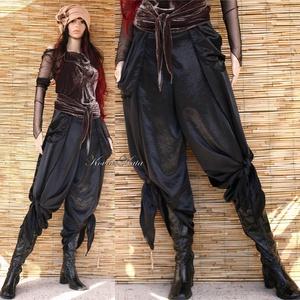 SATENE - exkluzív design-nadrág, Női ruha, Ruha & Divat, Alkalmi ruha & Estélyi ruha, Varrás, Izgalmas, csomózott aljú szárong-nadrágom szárnyasan szabott, zsebes változatban. Különleges, gyűrt ..., Meska