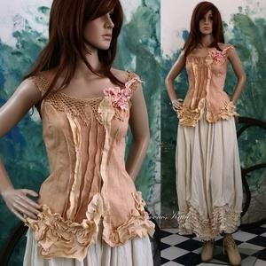 NETTI- kétrészes romantikus ruha, Női ruha, Ruha & Divat, Alkalmi ruha & Estélyi ruha, Festett tárgyak, Varrás, Romantikus, kézzel festett pamutvászon korzet neccel, karcsúsító piékkel, fodrocskázott végződéssel,..., Meska