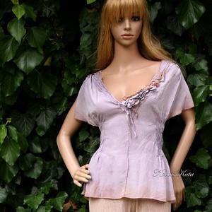 LÍVIA - exkluzív 100% Crepe de Chine selyemblúz, Táska, Divat & Szépség, Esküvő, Ruha, divat, Női ruha, Blúz, Luxus-minőségű krepdesin hernyóselyemből készült romantikus, finom darab applikációval, gumizással, ..., Meska