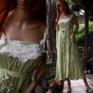 """DANIELLA - selyemruha , Alkalmi ruha & Estélyi ruha, Női ruha, Ruha & Divat, Varrás, Újrahasznosított alapanyagból készült termékek, Akár alternatív menyasszonyi ruha is lehet ez a gyűrt selyemből készült \""""nimfa\""""ruhám.\nDekoltázsát an..., Meska"""