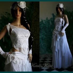 MARY - menyasszonyi ruha, Esküvő, Táska, Divat & Szépség, Menyasszonyi ruha, Esküvői ruha, Ruha, divat, Női ruha, Estélyi ruha, Félvállas, francia-csipke csipketopból, bohém szoknyácskából és selyem alsószoknyából álló kreációm ..., Meska