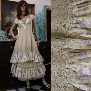 ARIKA- designruha XL - alternatív esküvői ruha, Táska, Divat & Szépség, Női ruha, Ruha, divat, Estélyi ruha, Esküvői ruha, Varrás, Ez a gyönyörű kétrészes modellem ekrü színű, szaténselyemből készített ruha alapra varrt kézzel fest..., Meska