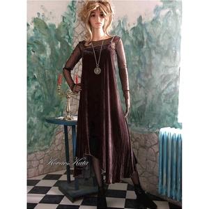 MÉDEA - extravagáns selyembársony ruha, Táska, Divat & Szépség, Női ruha, Ruha, divat, Estélyi ruha, Ruha, Varrás, Aszimmetrikus, gloknis szabású puha, finom selyembársonyból készült alkalmi ruha.\nKülönleges, egyedi..., Meska
