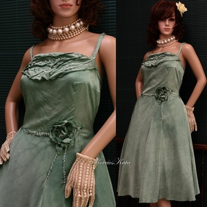 """MILLY - pin-up designruha XL, Alkalmi ruha & Estélyi ruha, Női ruha, Ruha & Divat, Festett tárgyak, Varrás, Klasszikus pin-up szabású modellemet \""""márványosan\"""" zöld árnyalatra kézzel festett,  tompa fényű visz..., Meska"""