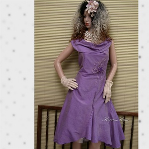 LILA ORGONA - design-ruha , Női ruha, Ruha & Divat, Alkalmi ruha & Estélyi ruha, Varrás, Különleges, orgona-lila hernyóselyem- shantungból terveztem ezt a modellemet.\nKlasszikus princessz-s..., Meska