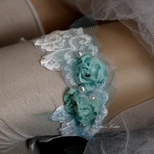 VALAMI KÉK - art to wear harisnyakötő XXL, Esküvő, Harisnyatartó & Valami kék, Kiegészítők, Festett tárgyak, Varrás, Meska