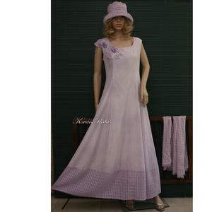 GILDA - artsy design hosszú-ruha, örömanya ruha, stólával L-XL, Alkalmi ruha & Estélyi ruha, Női ruha, Ruha & Divat, Varrás, Festett tárgyak, Kézzel festett, lenszövetből és kockás-szövésű pamutgézből készült, princessz szabású hosszú-ruha ar..., Meska