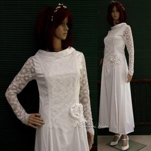 TILDA - csipkeujjú menyasszonyi ruha, Esküvő, Táska, Divat & Szépség, Menyasszonyi ruha, Esküvői ruha, Ruha, divat, Az 1920-as évek flapper stílusában terveztem ezt a hófehér pamut-szaténból készült, zárt-nyakú, fran..., Meska