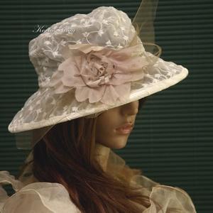 HÍMZETT ORGANZA - esküvői kalap, Esküvő, Táska, Divat & Szépség, Sál, sapka, kesztyű, Ruha, divat, Sapka, Tört-fehér  organzából készítettem ezt a látványos kalapot. Pille-könnyű, béleletlen, szép formáját ..., Meska