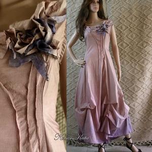 D E S I G N -  R U H Á K ..............VALERIE - romantikus ruha XL, Női ruha, Ruha & Divat, Alkalmi ruha & Estélyi ruha, Festett tárgyak, Varrás, Különleges megjelenésű modellemet púderes mályva-színre festettem. \nAnyaga selymes felületű, taftosa..., Meska