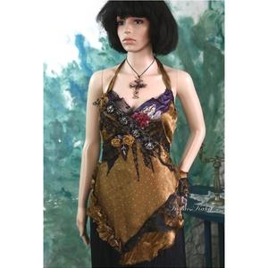 """GOLDEN-NIGHT - kollázs felső, Esküvő, Táska, Divat & Szépség, Női ruha, Ruha, divat, Blúz, Varrás, Mindenmás, Gyönyörű esésű, \""""békebeli\"""" vintage  viszkóz-szaténból készítettem ezt a \nvarázslatos kollázzsal-dísz..., Meska"""
