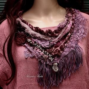 VERONA / bordó - art to wear textilékszer (Aranybrokat) - Meska.hu