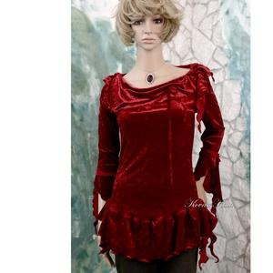 SCARLET - exkluzív selyembársony tunika, Ruha & Divat, Női ruha, Alkalmi ruha & Estélyi ruha, Elasztikus, exkluzív mély-piros selyembársonyból terveztem ezt a romantikus, hosszított tunikát. Gót..., Meska