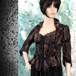 DIANA / orient mokka -design kabátka, Táska, Divat & Szépség, Női ruha, Ruha, divat, Kabát, Varrás, Különleges design-textilből -tüllborítású, applikált pamutvászonból-terveztem ezt a kedvelt fazonom...., Meska