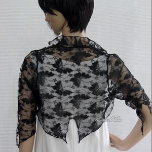 PILLANGÓK - csipke boleró, Táska, Divat & Szépség, Női ruha, Ruha, divat, Estélyi ruha, Varrás, Egy egyszerű ruha különleges dísze lehet ez a csipkeboleró, amit lepke-mintás tüllcsipkéből készítet..., Meska