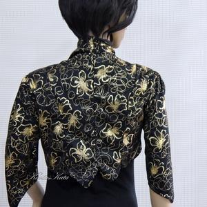 ARANYVIRÁGOS - jersey boleró, Ruha & Divat, Női ruha, Alkalmi ruha & Estélyi ruha, Egy egyszerű fekete ruha különleges dísze lehet ez a boleró, amit aranyvirágos jersey-ből készítette..., Meska