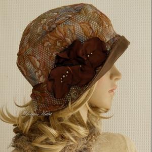 FRIDA cloche - selyem flapper-kalap, Kalap, Sál, Sapka, Kendő, Ruha & Divat, Varrás, Újrahasznosított alapanyagból készült termékek, A különleges kalapok szerelmeseinek ajánlom ezt az 1920-as évek stílusában tervezett  kalapocskám.\n\n..., Meska