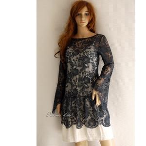 CSIPKERUHA - Lolita stílusú design-ruha, Női ruha, Ruha & Divat, Alkalmi ruha & Estélyi ruha, Varrás, Csodaszép barokkmintás sötétkék csipkéből készítettem ezt a bájos, csónaknyakú, hosszú ujjú modellem..., Meska