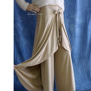 """BAMBI - exkluzív szárongnadrág, Nadrág, Női ruha, Ruha & Divat, Varrás, Különösen finom, lágy  szarvasbőr-imitációból készítettem ezt az elegáns, \""""szoknyás\"""" lapnadrágom.\nKü..., Meska"""