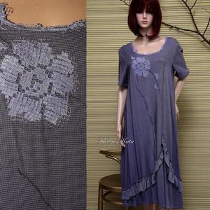 LANCIA - selyemruha, Női ruha, Ruha & Divat, Alkalmi ruha & Estélyi ruha, Festett tárgyak, Varrás, Apró pepita viszkóz-selyemből terveztem ezt az elegáns modellem.\nLilás-kék árnyalatra festettem, ant..., Meska