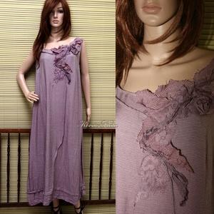 FELICIA - trapézruha XXL, Női ruha, Ruha & Divat, Alkalmi ruha & Estélyi ruha, Festett tárgyak, Varrás, Szép-esésű, hűvös tapintású, apró-pepita viszkóz-selyemből készült hosszú-ruha mályva-színre festve...., Meska