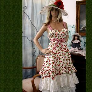 MICHELLE / cseresznyés  - design dolly-ruha, menyecske ruha , Esküvő, Ruha, Menyecske ruha, Varrás, Retro-mintás cseresznyés pamutvászonból készítettem ezt a nőies modellemet.\nA vállpántja és csokorra..., Meska