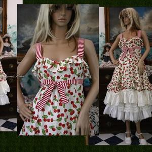 MICHELLE - cseresznyés ruha - design dolly-ruha , Alkalmi ruha & Estélyi ruha, Női ruha, Ruha & Divat, Varrás, Retro-mintás cseresznyés pamutvászonból készítettem ezt a nőies modellemet.\nA vállpántja és csokorra..., Meska