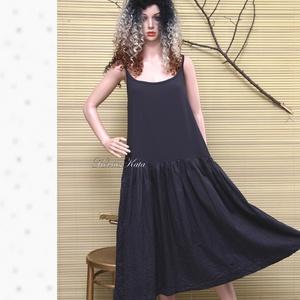BALERINA-RUHA / antracit-szürke pántos ruha, Táska, Divat & Szépség, Női ruha, Ruha, divat, Ruha, Varrás, Antracit-szürke középvastag lenvászon szoknyarész és elasztikus viszkóz-felső kombinációja alkotja e..., Meska