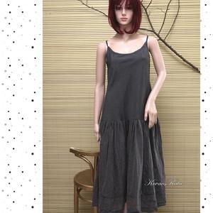 BALERINA-RUHA / szürke pántos ruha, Táska, Divat & Szépség, Női ruha, Ruha, divat, Ruha, Varrás, Finom, vékony, egérszürke lenes szövet-top és gyűrt selyem-organza szoknya-rész alkotja ezt az egysz..., Meska