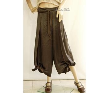 SATENE / barna - exkluzív design-nadrág, Női ruha, Ruha & Divat, Alkalmi ruha & Estélyi ruha, Varrás, Izgalmas, csomózott aljú szárong-nadrágom szárnyasan szabott, zsebes változatban. Különleges, gyűrt ..., Meska