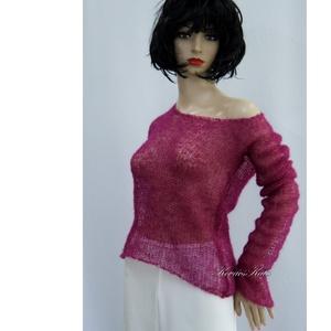 TIFFANY / bordó - szexi selyem-mohair pulóver - kézzel kötött, Táska, Divat & Szépség, Női ruha, Ruha, divat, Póló, felsőrész, Blúz, Luxus-minőségű hernyóselyem-kid-mohair-fonalból lazán kötött hosszú-ujjú, -pille-könnyű pulcsi .  Sz..., Meska