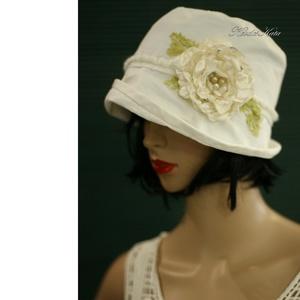 MARIE - romantikus nyári kalap , Táska, Divat & Szépség, Női ruha, Ruha, divat, Sál, sapka, kesztyű, Sapka, Különleges minőségű, jó tartású, selymes-fényű, tört-fehér pamut-ripszből készült béleletlen, fejhez..., Meska