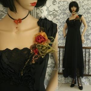 """DANILA -  selyemruha , Alkalmi ruha & Estélyi ruha, Női ruha, Ruha & Divat, Varrás, Patchwork, foltvarrás, Csipke-végződésű, princessz-szabású kreációm a \""""fenséges feketék\"""" kategóriából: \n \nGyönyörű holló-fe..., Meska"""