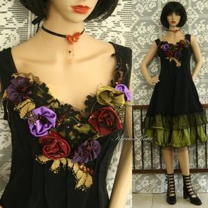 GLITTER-ROSE - romantikus selyemruha taft alsószoknyával, Női ruha, Ruha & Divat, Alkalmi ruha & Estélyi ruha, Varrás, Patchwork, foltvarrás, Nehéz-selyemből készült alkalmi modellem mell-középen csipkés-rózsás applikációval gazdagon díszítve..., Meska