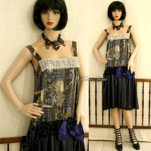 VILMA - vintage szatén koktélruha, Táska, Divat & Szépség, Női ruha, Ruha, divat, Estélyi ruha, Ruha, A '20-as évek ihlette kombinéruha különböző  kék szatén-selymekből. Mellrészét csipkével díszítettem..., Meska