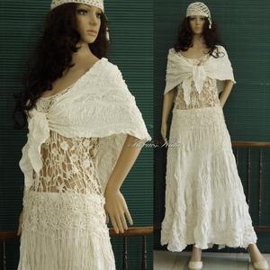 CSENGE-SZETT - alternatív menyasszonyi öltözet, Táska, Divat & Szépség, Ruha, divat, Esküvői ruha, Női ruha, Vízparti esküvőkhöz, partikhoz ajánlom ezt a különleges, kreppelt-habos-rusztikus nyers pamutvászonb..., Meska