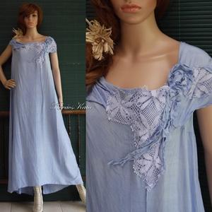 IRENE - iparművész selyemruha stólával XXL, Női ruha, Ruha & Divat, Alkalmi ruha & Estélyi ruha, Varrás, Festett tárgyak, Gyönyörű ég-kékre kézzel festett selyemruhám különleges alkalmakra ajánlom - örömanyáknak is!\n\nAnyag..., Meska
