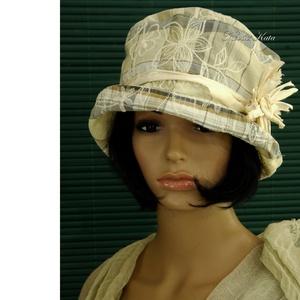FREIA cloche - design flapper-kalap, Táska, Divat & Szépség, Ruha, divat, Sál, sapka, kesztyű, Sapka, Női ruha, Különleges alkalmakra ajánlom ezt az 1920-as évek stílusában tervezett  kalapocskám. Különleges, koc..., Meska