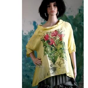 CIKLÁMEN -  exkluzív 100% hernyóselyem festményblúz, Táska, Divat & Szépség, Ruha, divat, Női ruha, Blúz, Varrás, Selyemfestés, Sárgára festett Habotai selyemből készült laza blúzocska kámzsa nyakkal.\nSzínes, szabadkézi virág-mi..., Meska
