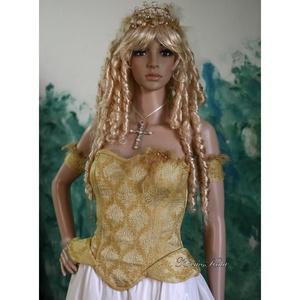 APHRODITE - antik-brokát fűző, Esküvő, Menyasszonyi ruha, Ruha, A különlegességek kedvelőinek: Antik selyem-brokátból készült ez a stílusos, halcsont merevítésű fűz..., Meska