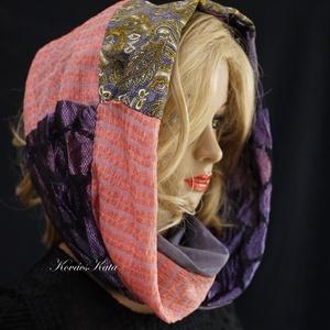 INFINITY/ lazac lilákkal -  patchwork körsál, csősál  (Aranybrokat) - Meska.hu