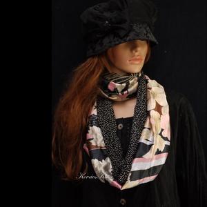 INFINITY/ Mali - patchwork selyem körsál, csősál, Táska, Divat & Szépség, Ruha, divat, Női ruha, Sál, sapka, kesztyű, Sál, Varrás, Hűvösen-elegáns szürkék rózsaszínnel, a selyem luxus-érintésével:\nMintás finom jacquard-selyemből és..., Meska