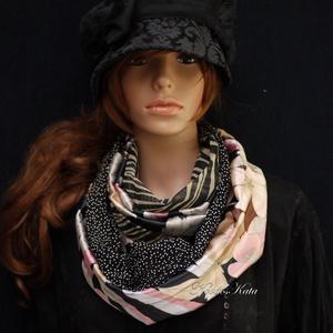 INFINITY/ Mali - patchwork selyem körsál, csősál, Sál, Sál, Sapka, Kendő, Ruha & Divat, Varrás, Hűvösen-elegáns szürkék rózsaszínnel, a selyem luxus-érintésével:\nMintás finom jacquard-selyemből és..., Meska