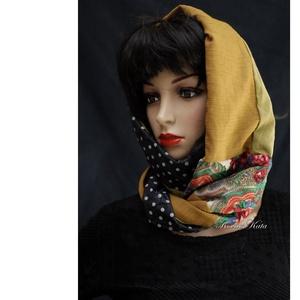 INFINITY/nosztalgia -  patchwork körsál, csősál  (Aranybrokat) - Meska.hu